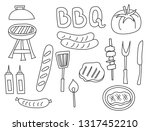 barbecue set of icons and... | Shutterstock .eps vector #1317452210