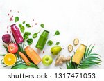 various smoothies or juices in... | Shutterstock . vector #1317471053