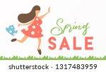 spring sale concept banner  ... | Shutterstock .eps vector #1317483959