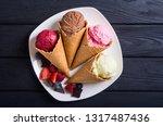 ice cream waffle cones with...   Shutterstock . vector #1317487436
