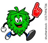 hop mascot running with a foam... | Shutterstock .eps vector #1317496736