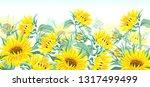 Sunflowers. Vector Horizontal...