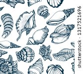 seamless pattern  seashells ... | Shutterstock .eps vector #1317521696