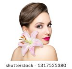 portrait of a gorgeous brunette ... | Shutterstock . vector #1317525380