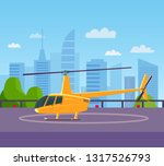 helicopter on helipad at... | Shutterstock .eps vector #1317526793
