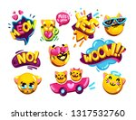 funny emoji set cats and...   Shutterstock .eps vector #1317532760