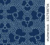 floral motif sashiko style...   Shutterstock .eps vector #1317538736