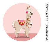 illustration with llama and... | Shutterstock .eps vector #1317546239