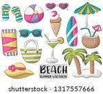 beach set of icons and objects. ... | Shutterstock .eps vector #1317557666