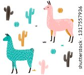 llama seamless pattern with... | Shutterstock .eps vector #1317557936