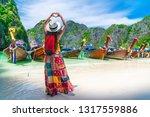 traveler woman hand doing heart ... | Shutterstock . vector #1317559886