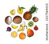 coconut  pineapple  banana ... | Shutterstock .eps vector #1317564413