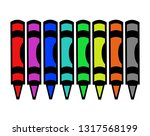 colorfuls wax crayons on white... | Shutterstock .eps vector #1317568199