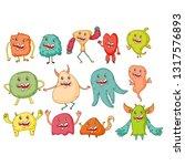 cute monsters. cartoon aliens... | Shutterstock .eps vector #1317576893