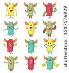 cute monsters. cartoon aliens... | Shutterstock .eps vector #1317576929