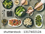 vegan dinner table setting.... | Shutterstock . vector #1317602126