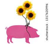 Sunflower balloons pig