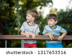 two kids on the hiking  stand... | Shutterstock . vector #1317653516