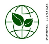 globe with green leaves icon....   Shutterstock .eps vector #1317654656