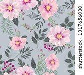 floral seamless pattern. garden ... | Shutterstock .eps vector #1317656030