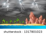 Stormy Island Background Scene...