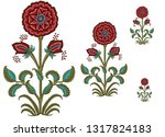 mughal floral motif white ground | Shutterstock . vector #1317824183