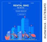 square flat banner. bike rental ... | Shutterstock .eps vector #1317836693