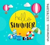 hello summer beach banner... | Shutterstock .eps vector #1317852896