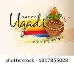 happy ugadi festival   gudi... | Shutterstock .eps vector #1317855023