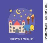 eid mubarak concept in a flat...   Shutterstock .eps vector #1317857183