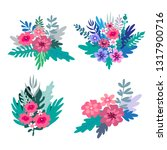 big set of flowers and herbs.... | Shutterstock .eps vector #1317900716