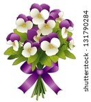 vector - Johnny Jump Ups Pansy Flower Bouquet. Spring flowers in purple and white with ribbon bow. Isolated on white background. EPS8 compatible.