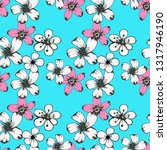 seamless pattern with flowers.... | Shutterstock .eps vector #1317946190