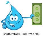 blue water drop cartoon...   Shutterstock . vector #1317956783