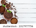 ground coffee and coffee beans. ...   Shutterstock . vector #1317977756
