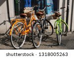 colorful bicycle at bike parking in sunlight on street in Olten. CH Switzerland