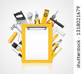 construction concept clipboard... | Shutterstock .eps vector #1318021679