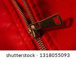 zipper on the red leather jacket | Shutterstock . vector #1318055093