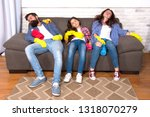 exhausting cleaning day. family ... | Shutterstock . vector #1318070279