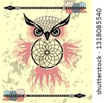 dream catcher with owl. boho... | Shutterstock .eps vector #1318085540