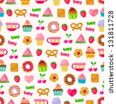 seamless pattern with sweets... | Shutterstock .eps vector #131811728