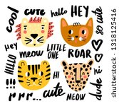 funny doodle cats collection  ... | Shutterstock .eps vector #1318125416