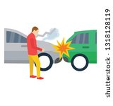 traffic collision  car... | Shutterstock .eps vector #1318128119