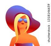 blonde girl in sunglasses.... | Shutterstock .eps vector #1318146659