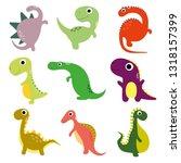 funny cartoon dinosaurs... | Shutterstock .eps vector #1318157399
