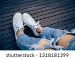 leg woman wear sneakers canvas... | Shutterstock . vector #1318181399