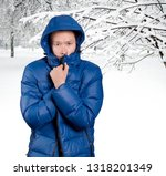 sad asian man in blue down... | Shutterstock . vector #1318201349