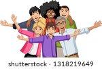 group of happy cartoon young... | Shutterstock .eps vector #1318219649