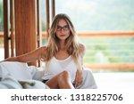 beautiful blond woman in... | Shutterstock . vector #1318225706