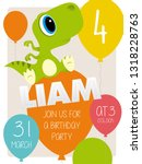liam 3th birthday party... | Shutterstock .eps vector #1318228763